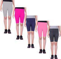 Eazy Trendz Short For Girls Casual Solid Cotton Lycra Blend(Multicolor, Pack of 5)