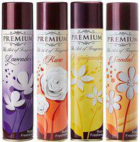 Premium The Art Of Fragrance Lavender + Rose + Rajnigandha + Sandal 217 ml x 4 Pack Of 4 Room Spray(4 x 217 ml)