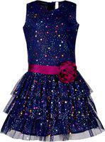 Stylo Bug Girls Midi/Knee Length Party Dress(Blue, Sleeveless)