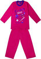 Sweet Angel Kids Nightwear Boys & Girls Printed Cotton Blend(Pink Pack of 1)