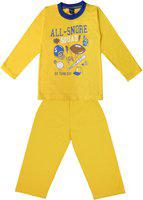Sweet Angel Kids Nightwear Boys & Girls Printed Cotton Blend(Yellow Pack of 1)
