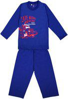 Sweet Angel Kids Nightwear Boys & Girls Printed Cotton Blend(Blue Pack of 1)