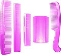 BOXO Set Of 5 Pcs Classic Hair Combs Set For Men And Women, Pink