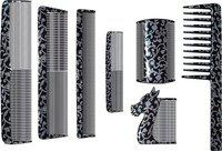 BOXO Hair Accessories, Hair Comb Set For Saloon Use, Set Of 7, Black