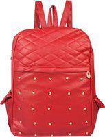 Rajni Fashion PU Leather Backpack School Bag Student Backpack Women Travel bag Tuition Bag 10 L Backpack(Red)