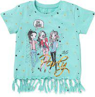 Cub Mcpaws Girl's Cotton Sequin T-Shirt with Fringes (EAS_103, Mint, 9-10 Years)