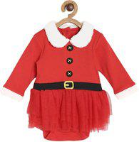 MINI KLUB Miniklub Girls Cotton Santa Style Onesies and Pant Set in Red Color for Age 0-3 Months