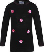 Monte Carlo Girls Casual Cotton Blend Top(Black, Pack of 1)