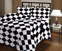 GINI HOME Checkered Double Dohar(Poly Cotton, Black, White)