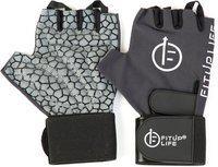 Fitup Life Gym Gloves with Adjustable Wrist Grip & Web Leather Padding Gym & Fitness Gloves (L, Black)