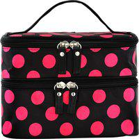 Tied Ribbons Portable and Waterproof Double-deck Travel Makeup Cosmetic,Jewellery Storage Zipper Holder Handbag perfect gift for any one Travel Toiletry Kit(Black, Pink)