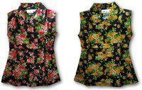 La Bele Girls Midi/Knee Length Casual Dress(Multicolor, Sleeveless)