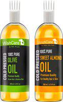 WishCare 100% Pure Cold Pressed Olive Oil And Sweet Almond Oil - 200 Ml each(400 ml)