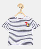 Tommy Hilfiger Girls Striped Cotton Viscose Blend T Shirt(White, Pack of 1)