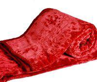 Ruchi World Plain Double Mink Blanket(Polyester, Red)