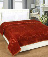 Ruchi World Plain Double Mink Blanket(Polyester, Brown)