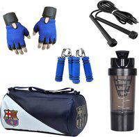 Snipper Combo Of FCB Gym Bag, Gloves(Blue), Spider Shaker(Black), Skipping Rope(Black) And Hand Gripper(Blue) Gym & Fitness Kit