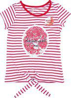 Chalk by Pantaloons Girls Striped Cotton Blend T Shirt(Pink, Pack of 1)