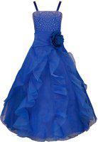 Alisha Moda Girl's Princess Look Party/Birthday Floor-Length Floral Gown Dress (Blue, 4-5y)