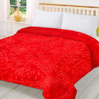 CarryWishiya Floral Double Mink Blanket(Polyester, Red)