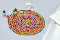 Handicraft-Palace Multicolor Jute Area Rug(60 cm X 60 cm)