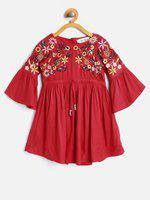 Bella Moda Girl's Cotton Printed Fit and Flare Dress (OM1315K4Y-1, Red, 4-5 Years)