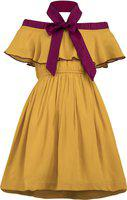 Stylo Bug Girls Midi/Knee Length Party Dress(Yellow, Sleeveless)