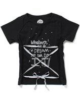 CuB McPAWS Girls Black T-Shirt | Criss-Cross Tie-up at Front | 4-12 Years (10-11 Years)