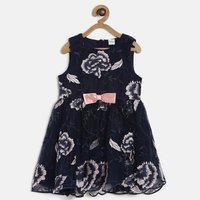 Mini Klub Girls Midi/Knee Length Casual Dress(Dark Blue, Sleeveless)