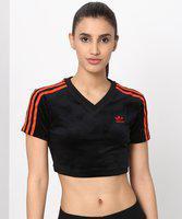 ADIDAS ORIGINALS Striped Women V Neck Black T-Shirt