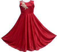 KBKIDSWEAR Girls Maxi/Full Length Casual Dress(Purple, Sleeveless)