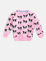 Lazy shark Girl's Pink Color Dog Face Printed Sweatshirt - 6-7 Years