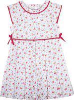 Caca Cina Girls Midi/Knee Length Casual Dress(White, Cap Sleeve)