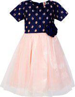 Stylo Bug Girls Midi/Knee Length Party Dress(Pink, Half Sleeve)