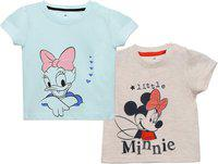 Disney Girls Graphic Print Cotton Blend T Shirt(Multicolor, Pack of 2)