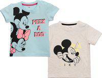 Disney Boys Graphic Print Cotton Blend T Shirt(Multicolor, Pack of 2)