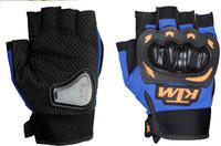 KTM Synthetic Leather Motorcycle/Riding/Bike Half / Fingerless Gloves Riding Gloves(Blue)