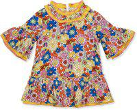 Budding Bees Girls Midi/Knee Length Casual Dress(Yellow, 3/4 Sleeve)