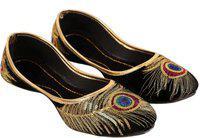 COVOZO Golden Embroidery More Pankh Jutis For Women(Black)