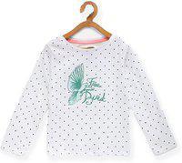 EIMOIE Girl's Polka dot Regular fit T-Shirt (2383_White_9-10 Years)