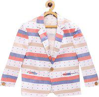 Rikidoos Striped Single Breasted Party Boys Blazer(White)