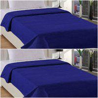 ELLONIA Plain Double Fleece Blanket(100% Wool, Blue, Blue)