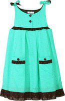 Caca Cina Girls Midi/Knee Length Casual Dress(Multicolor, Sleeveless)