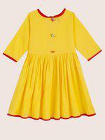 Yk Girls Solid A-line Kurta(Yellow)