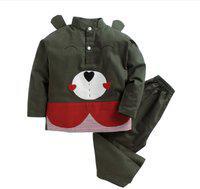 KIDSCLAN Kids Nightwear Boys & Girls Solid Cotton Blend(Green Pack of 1)