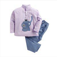 KIDSCLAN Kids Nightwear Boys & Girls Solid Cotton Blend(Maroon Pack of 1)