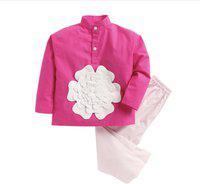 KIDSCLAN Kids Nightwear Boys & Girls Solid Cotton Blend(Pink Pack of 1)