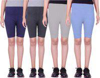Eazy Trendz Short For Girls Casual Solid Cotton Lycra Blend(Multicolor, Pack of 4)