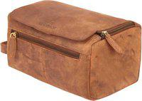 LEADERACHI Hunter Leather Toiletry Bag [Fano-Brown] Travel Toiletry Kit(Brown)
