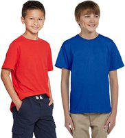 Cliths Boys Solid Cotton Blend T Shirt(Multicolor, Pack of 2)